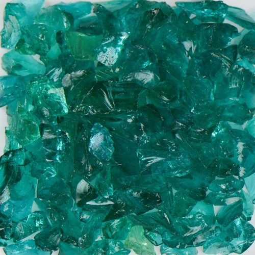 Teal Fireplace Glass